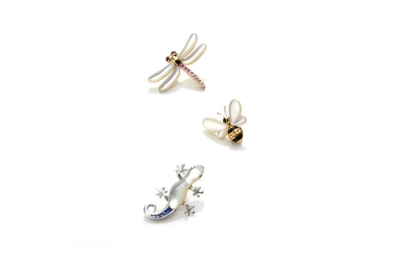 ジュネ,ジュエリー,白蝶貝,マザーオブパール,ブローチ,やもり,ハチ,蜂,とんぼ,蜻蛉,